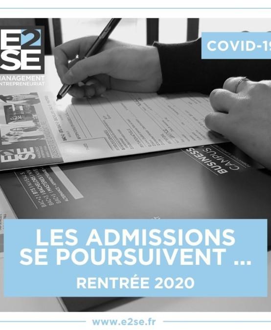 POURSUITE DES ADMISSIONS – RENTRÉE 2020
