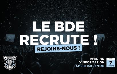 LE BDE RECRUTE | Réunion d'information